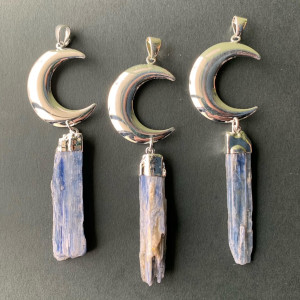 Large Silver plated moon pendant with blue kyanite